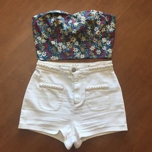 UO Pin-Up Ivory Shorts